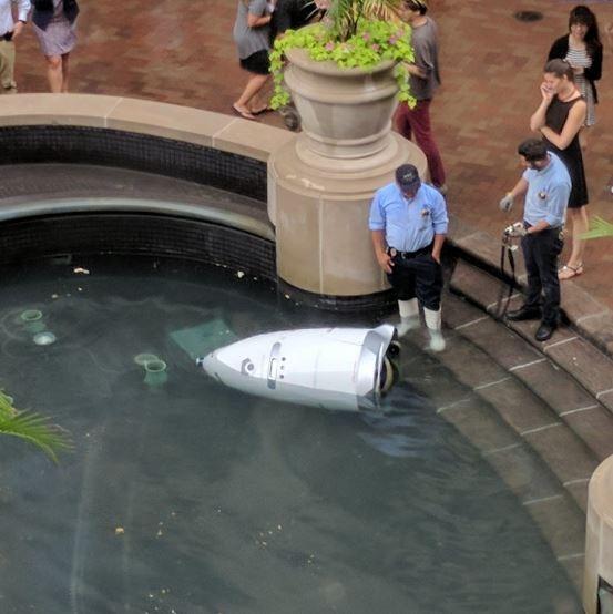 美國1隻Knightscope K5機器人,日前在華盛頓特區自己掉進噴水池裡,讓民眾熱議也許是機器人想要淹死自己。(圖擷自Bilal Farooqui@bilalfarooqui推特)