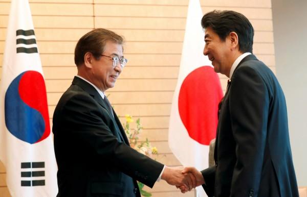 韓國總統特使、韓國國家情報院長徐薰(左)13日與日本首相安倍晉三進行會談。(路透)