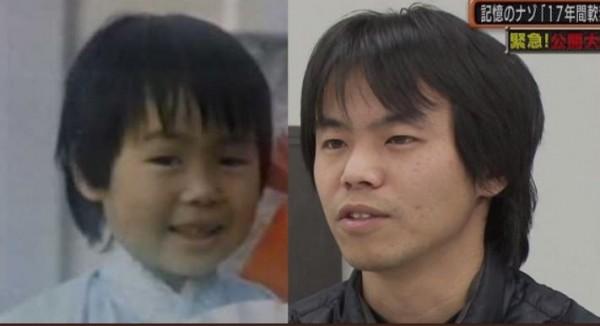 日本1989年失蹤的4歲男童松岡伸矢(左),消失29年之後,電視上出現眉宇和松岡伸矢極為相似的尋親男子和田龍人(右)。(圖擷自モナニュース@mnnws推特)