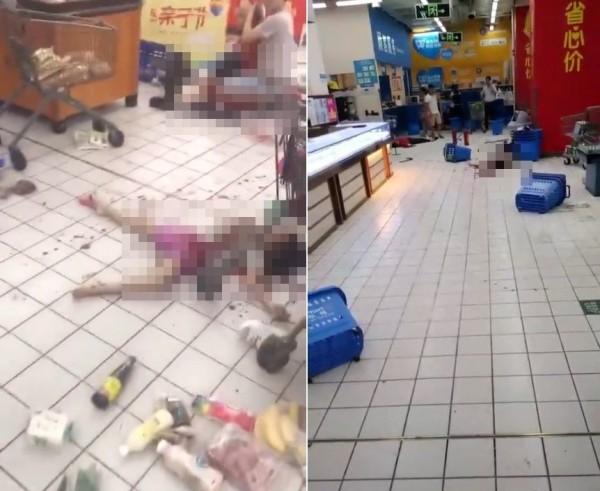 中國深圳寶安區西鄉鹽田沃爾瑪超市發生恐怖隨機砍人事件 。(網圖,擷自星島日報)