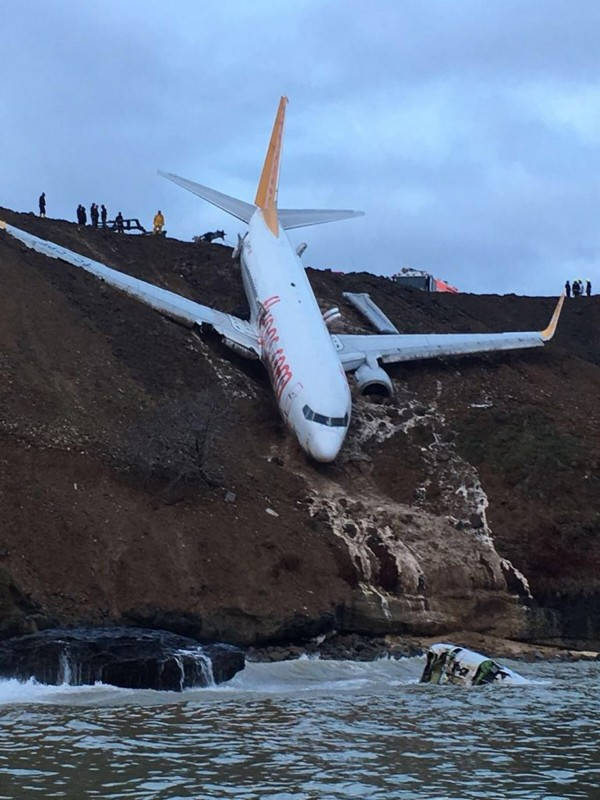 土耳其飛馬航空(Pegasus Airlines)一架客機在當地時間13日晚間降落時,疑打滑失控衝出跑道,飛機掛在懸崖邊險些栽入黑海。(歐新社)