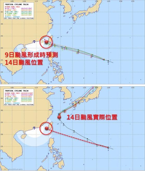 上圖為泰利颱風9日形成時氣象預報14日的位置,下圖則為14日時的實際位置。(擷取自天氣職人吳聖宇臉書)