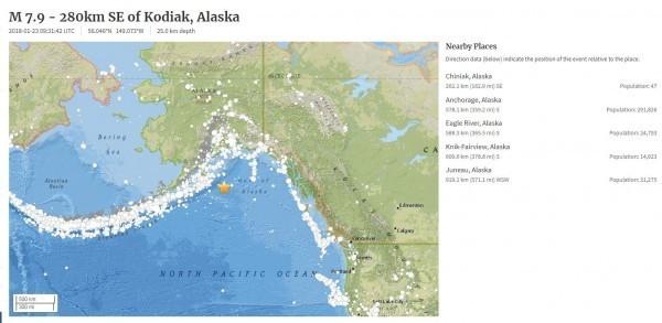 阿拉斯加外海發生強震,目前地震規模修正為7.9。(圖擷取自USGS)