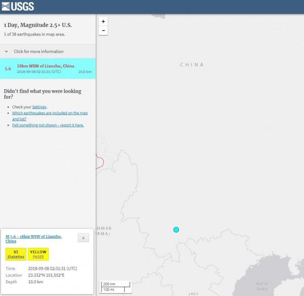 美國地質調查局對這次地震發布黃色警報。(擷取自USGS)