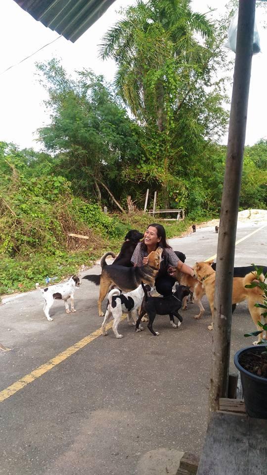 名叫「Orawan Kaewla-iat」的泰國女子經常餵食住家附近的流浪狗,在她的臉書上也時常分享她與毛小孩的合照。(圖擷自「อรวรรณ แก้วละเอียด」臉書)