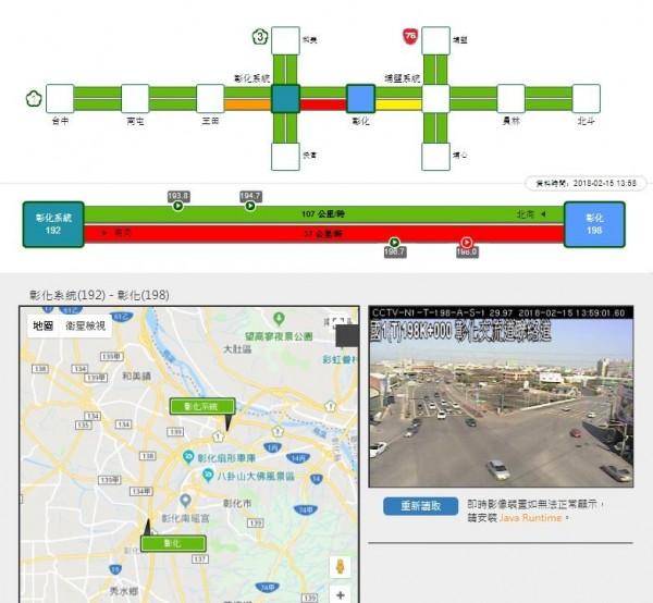 彰化路段在下午1點32分時,再度壅堵,時速降到不到40公里。(圖擷自高速公路局官網)