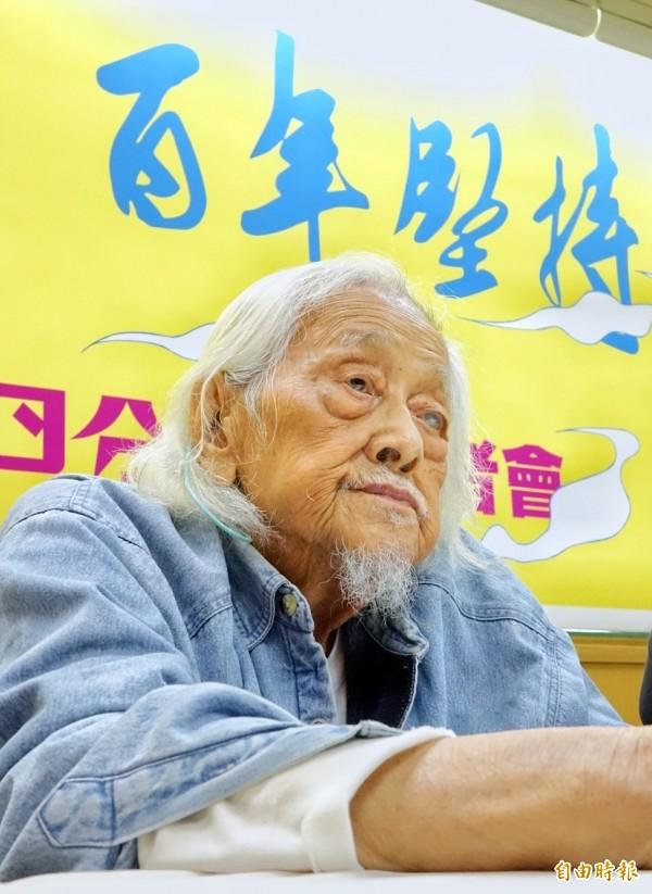 台灣獨立運動先驅史明今天出席「獨立台灣・百年堅持-史明歐吉桑生日分享會」記者會。(記者朱沛雄攝)