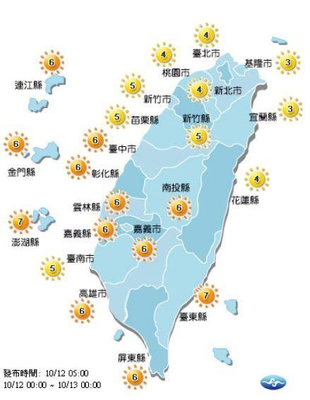 今日各地紫外線指數預報概況。(圖擷取自中央氣象局)