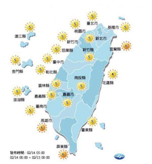 各地紫外線概況。(圖擷取自中央氣象局)