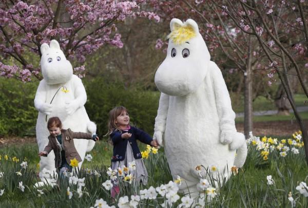 芬蘭嚕嚕米舉世聞名,外型類似河馬,可愛的表情受到不少孩童喜愛。(美聯社)