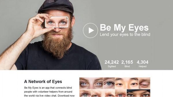 國外一家軟體公司推出盲人專用App「Be My Eyes」,能夠連結常人與盲胞間,協助盲胞看世界。(圖擷取自官網)