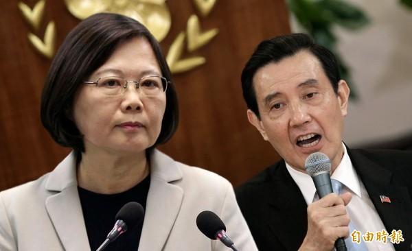 有網友將前總統馬英九的政績,拿出來與蔡英文做比較。(本報合成)