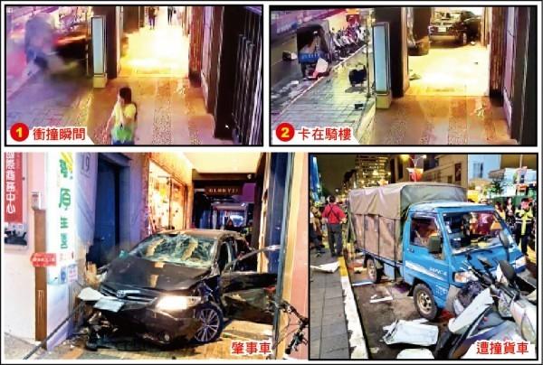 台北小巨蛋前發生嚴重車禍,21歲無照駕駛謝亞軒等人疑似在尖峰時段駕車飆速,撞貨車後衝進騎樓撞死3人。(記者鄭景議翻攝)