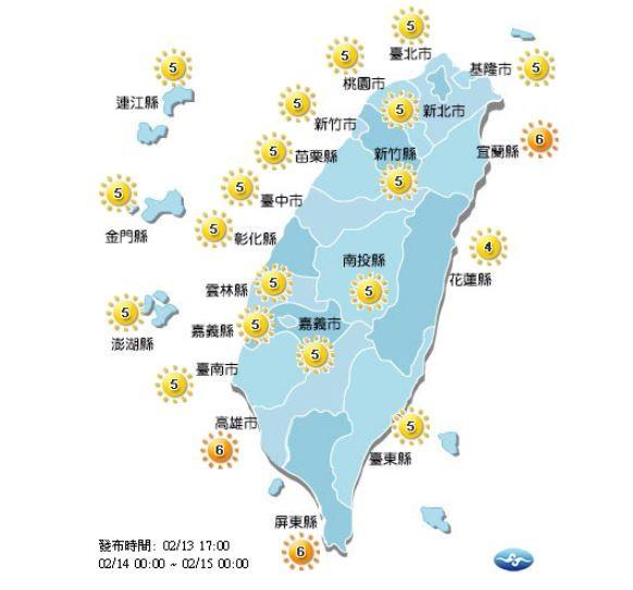 明日各地紫外線預報。(圖擷取自中央氣象局)