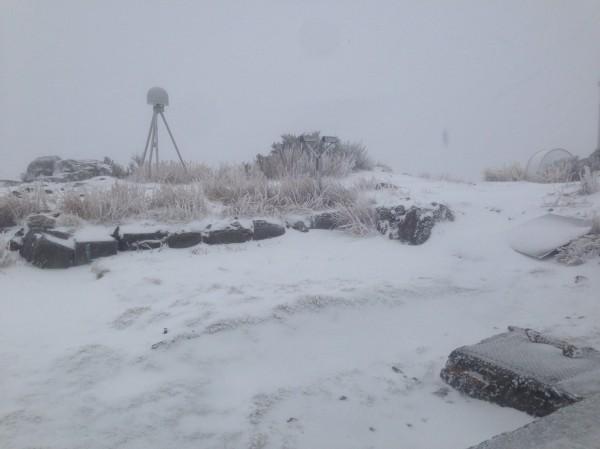 圖為10日,北峰氣象站積雪超過4公分。(資料照,玉管處提供)