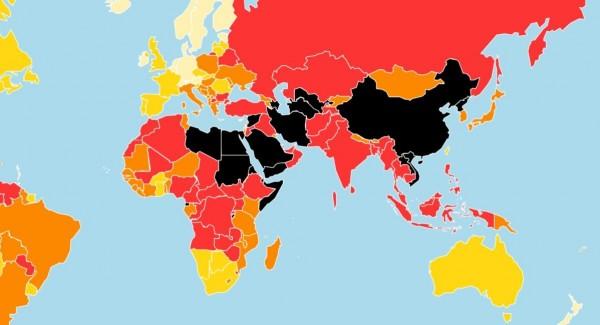 挪威、瑞典、芬蘭等歐洲國家依舊名列前茅,至於新聞自由指數最差的5國則是中國、敘利亞、土庫曼、厄利垂亞和北韓。(圖截自無國界記者組織網站)