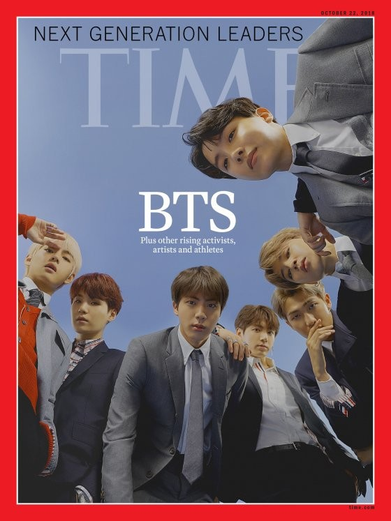 南韓男團「BTS防彈少年團」風潮席捲全世界,日前受邀赴聯合國演講,現在又登上美國《時代》雜誌最新一期封面。(圖擷取自Twitter)