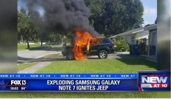 美國發生Note 7放車上充電結果爆炸燒毀整台吉普車事件。(圖擷自FOXNEWS)
