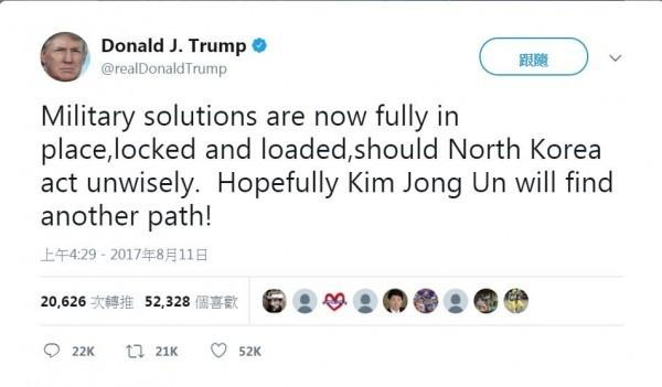 川普發文嚴重警告北韓。(圖擷自推特)