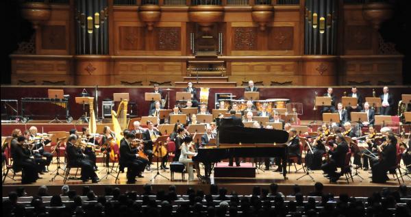 倫敦愛樂交響樂團今晚在台北國家音樂廳演出。(記者潘少棠攝)
