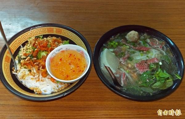 烤肉麵(左)與牛肉河粉,「青艷越南河粉」招牌料理。(記者蔡政珉攝)