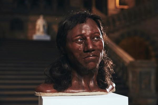 美共和党议员尼林(Paul Nehlen)将深肤色的古代英国人类「切达人」(Cheddar Man)的脸,移植到马克尔脸上。(路透社)