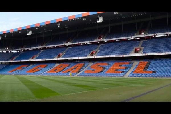 瑞士城市「巴塞爾」拍攝觀光宣傳片,影片穿插巴塞爾著名景點,如足球場。(圖擷取自影片)