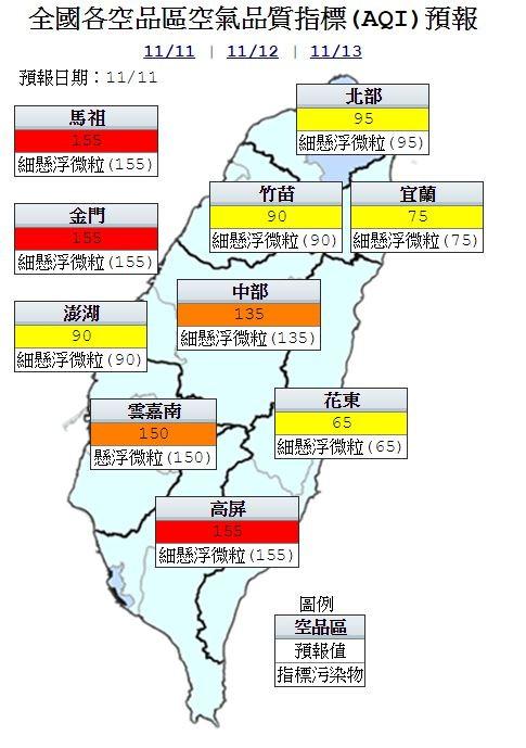 今天高屏及金門、馬祖空氣品質為紅色警示,中部及雲嘉南為橘色提醒,其他為普通等級。(圖取自行政院空氣品質監測網)