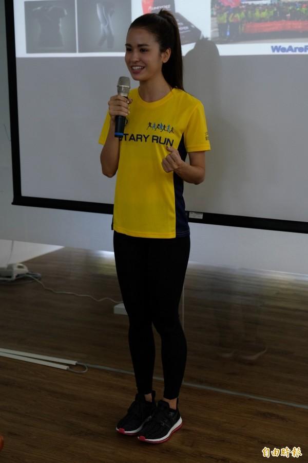 此次公益路跑,特別邀請善於運動的名模雷艾美擔任代言人。(記者陳炳宏攝)