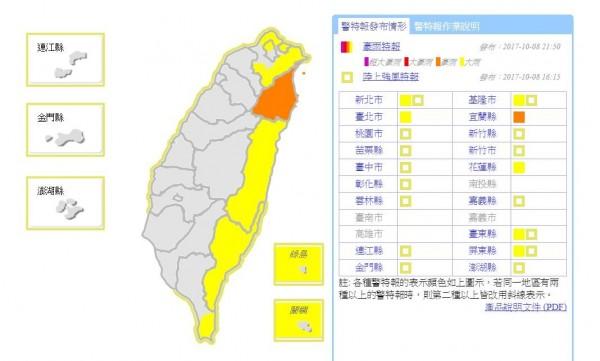 受東北風與熱低壓影響,氣象局針對全台7縣市發布大雨、豪雨特報。(圖擷自中央氣象局)