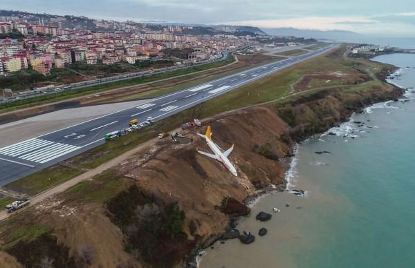 土耳其飛馬航空(Pegasus Airlines)一架客機降落疑打滑失控衝出跑道,白天環視意外現場,才發現飛機只差幾公分就要墜入黑海懸崖,可見當時驚險。(法新社)