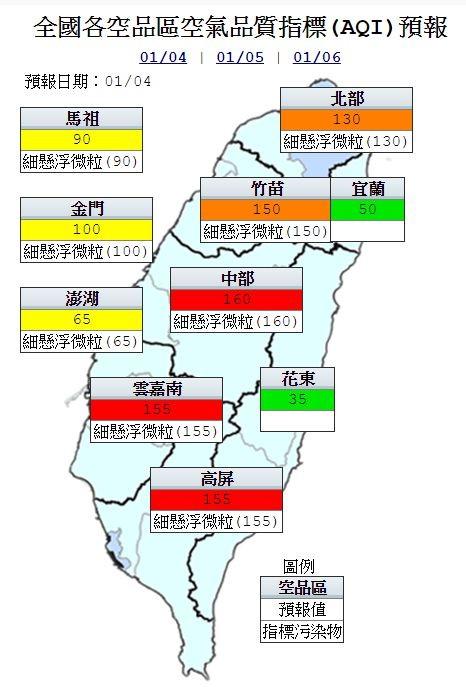 今天中部以北受低壓渦流影響,使污染物往北輸送,中南部地區擴散條件持續不佳,中部、雲嘉南及高屏空品區為「紅色警示」(圖擷自環保署)