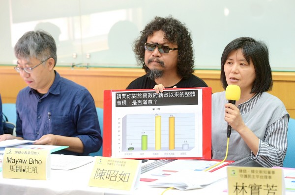 Taiwan Democracy Watch chairwoman Chen Chao-ju, right, holds a chart showing President Tsai Ing-wen's approval rating at a news conference in Taipei yesterday. Photo: Chang Chia-ming, Taipei Times