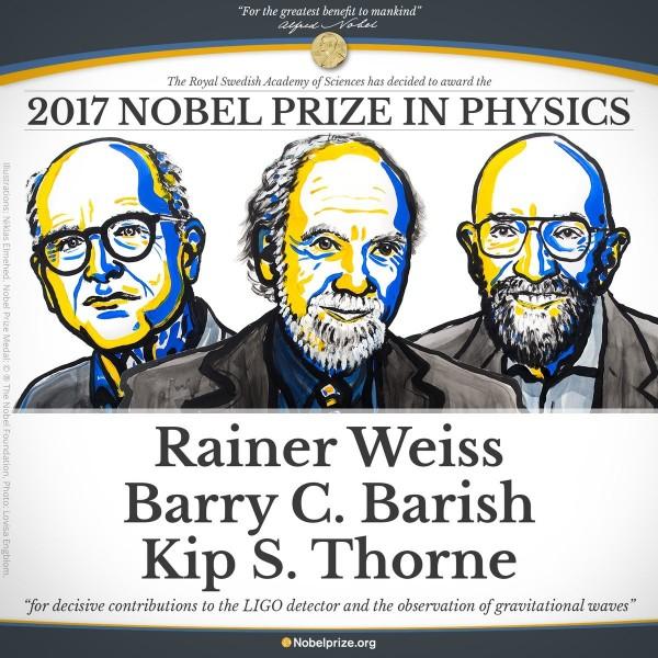 2017諾貝爾物理學獎得主揭曉,由美國學者Rainer Weiss和Barry C. Barish和Kip S. Thorne獲得殊榮。(圖取自推特)