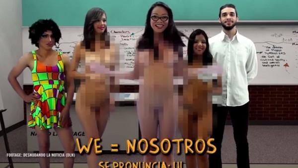 女老師們皆全裸上英文課。(圖取自YouTube)