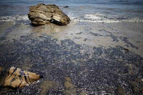 瑞福吉歐州立海灘上都是一大片的黑色油汙。(路透)