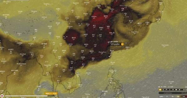 最嚴重的地區一氧化碳濃度甚至可能突破500ppbv。(圖擷取自Windy.com)