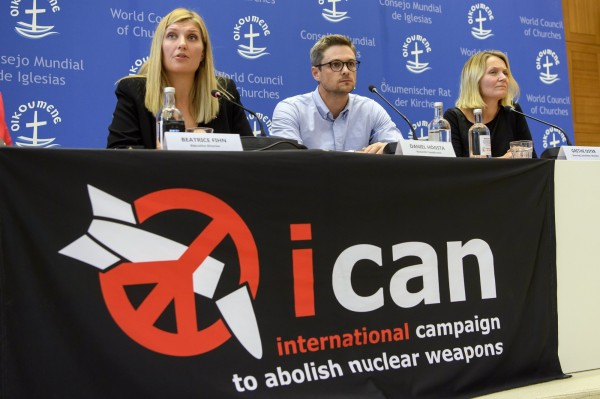 總部位於日內瓦的ICAN在獲獎後表示,目前全球處於高度緊張狀態,核子衝突的陰影再度逼近,他們強調「現在」就是禁止核武的時機。(歐新社)