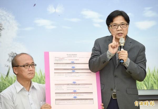 葉俊榮今天下午緊急召開記者會,拋出台大校長遴選的「第三條路」,就是要求台大遴委會從「5名候選人」開始遴選。(記者羅沛德攝)