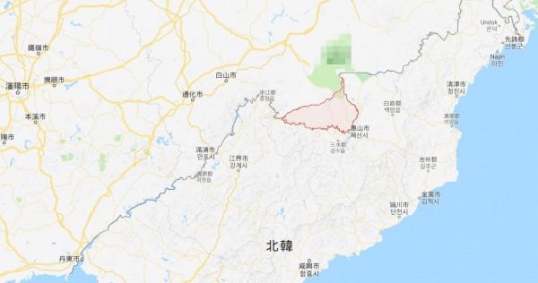 據Google地圖,吉林省長白縣臨近北韓。(圖片截取自Google地圖)