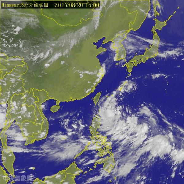 原先位於菲律賓東方海面的熱帶性低氣壓,已於今下午增強為今年第13號颱風「天鴿」,氣象局稍微極可能發布颱風警報。(中央氣象局)