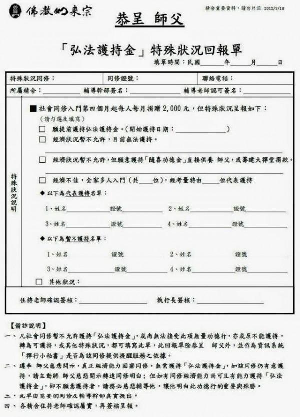 網友貼出「弘法護持金」的格式。(圖擷自臉書)