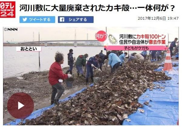 中國人在日本千葉縣市川市的出海口採蚵,卻只取走蚵肉,蚵殼則隨意丟棄。(圖擷自《日視新聞網》)