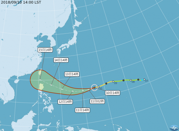 中颱山竹有機會在明(11日)增強為強颱,氣象局指出,週五(14日)就有機會發布海警,若往陸地靠近,也不排除發布陸警。(圖擷取自中央氣象局)