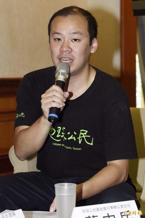 地球公民基金會花東辦公室主任蔡中岳指出,一旦貨貿通過,可能造成台灣農地、河流、海邊的污染。(資料照,記者陳志曲攝)