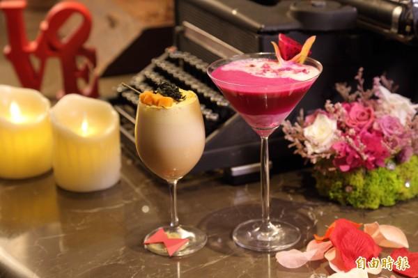 這個情人節不妨動手調製以茶湯和果汁為基底的「Mocktail」,用甜蜜風味替兩人戀情加分!圖左為「東方的禮物」,右為「火紅的愛戀」。(記者陳宇睿攝)