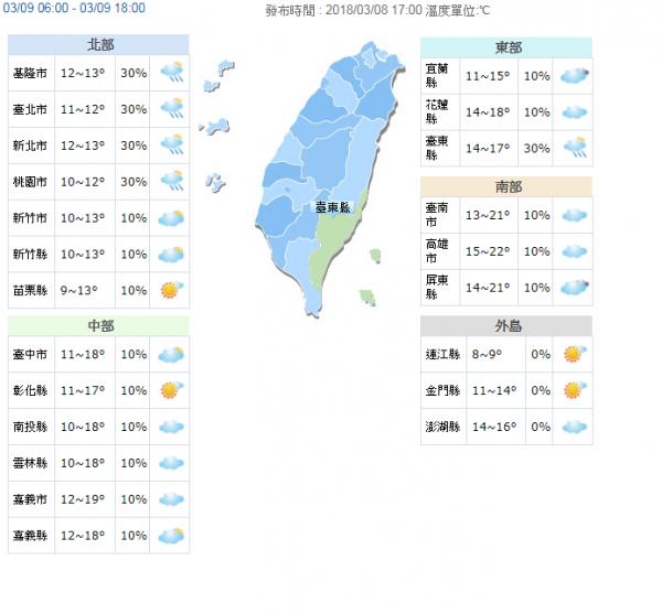 明天各地氣溫圖。(圖擷自氣象局)