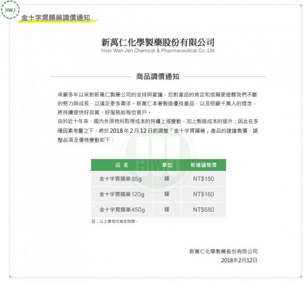 新萬仁化學製藥股份有限公司,昨(12)在官網上貼出商品調價通知。(圖擷取自新萬仁官網)