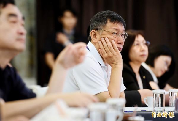 台北市長柯文哲出席居住正義論壇,聽取各界意見。(記者朱沛雄攝)