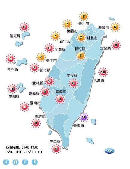 紫外線指數方面,明天北部多為高量級,中南部、東半部以及外島,多為過量級,其中台東縣為危險級。(擷取自中央氣象局)
